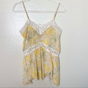Free People Intimately Free Yellow Floral Blouse L